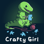 Crafty Girl (Raptor) t-shirt TeeTurtle navy t-shirt featuring a raptor dinosaurs sitting on the ground cutting paper with scissors with a ball of yarn on the ground around her