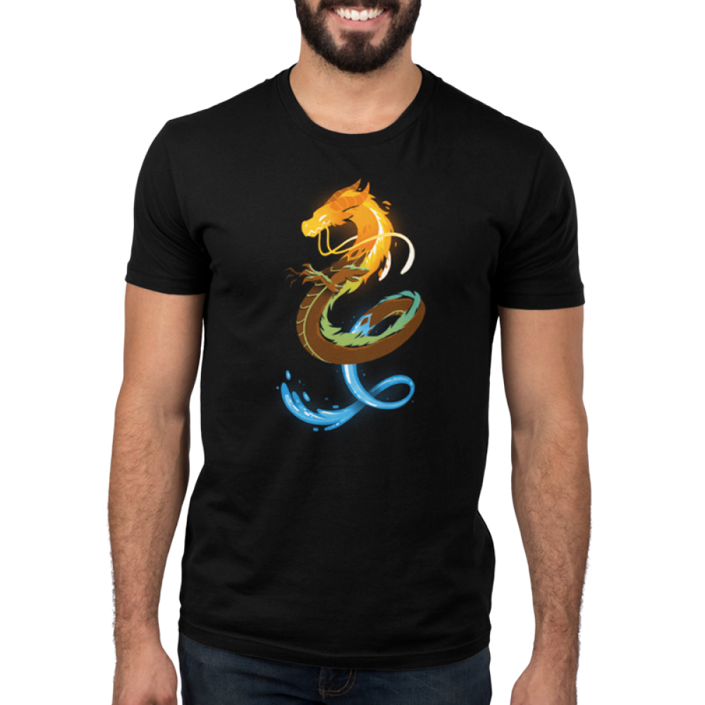 Elemental Dragon Men's t-shirt model TeeTurtle black t-shirt featuring a dragon with a fiery head, an earthy body, and a water tail