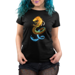 Elemental Dragon Women's t-shirt model TeeTurtle black t-shirt featuring a dragon with a fiery head, an earthy body, and a water tail