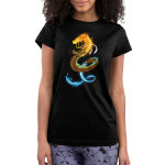 Elemental Dragon Junior's t-shirt model TeeTurtle black t-shirt featuring a dragon with a fiery head, an earthy body, and a water tail
