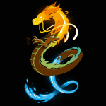Elemental Dragon t-shirt TeeTurtle black t-shirt featuring a dragon with a fiery head, an earthy body, and a water tail
