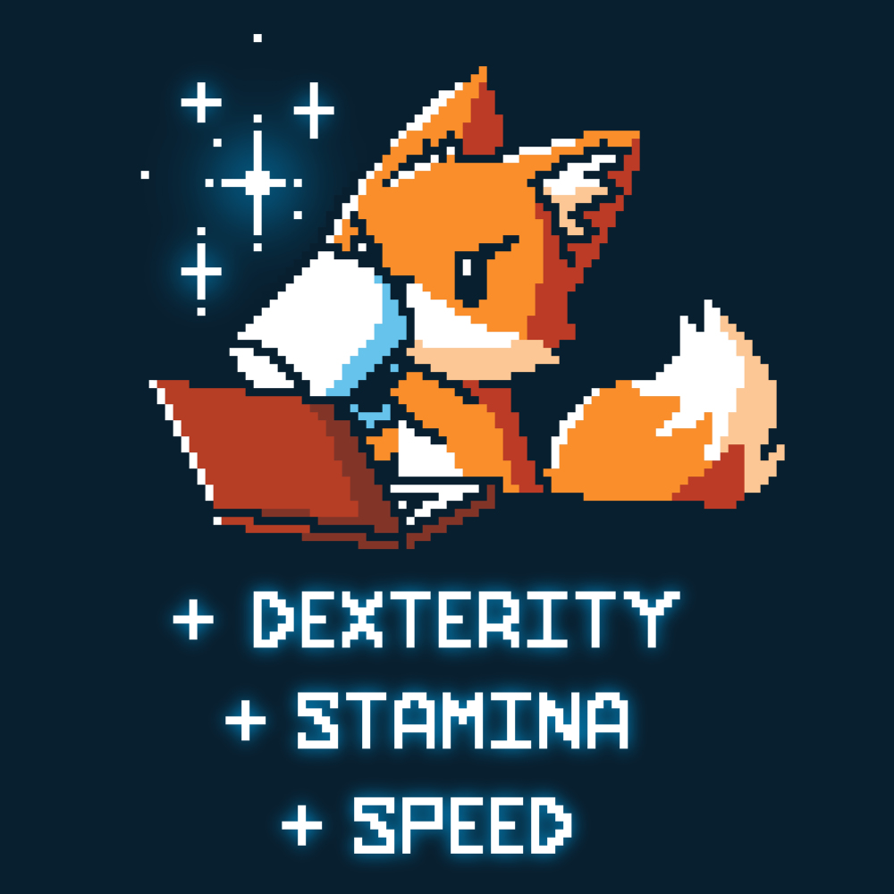 Computer Buff t-shirt TeeTurtle navy t-shirt featuring a computerized fox drinking coffee in front of his computer