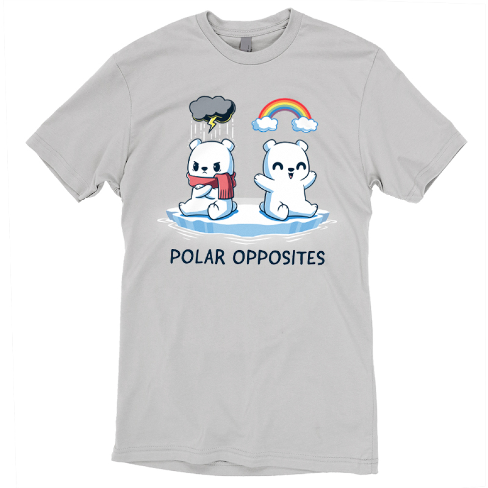 Polar Opposites t-shirt TeeTurtle silver t-shirt featuring two polar bears on a little glacier, one with a scarf looking angry with a storm cloud above him, and the other smiling with a rainbow above him