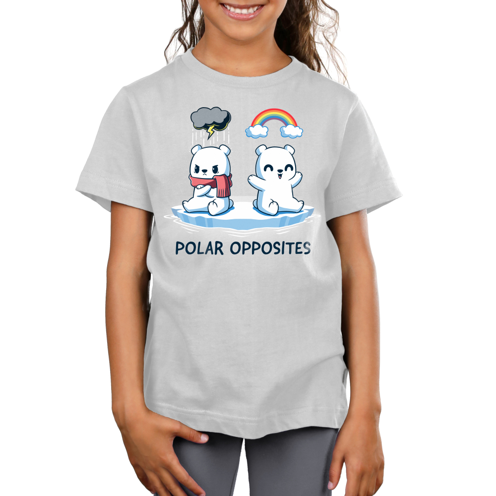 Polar Opposites Kid's t-shirt model TeeTurtle silver t-shirt featuring two polar bears on a little glacier, one with a scarf looking angry with a storm cloud above him, and the other smiling with a rainbow above him