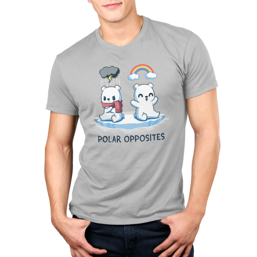 Polar Opposites Men's t-shirt model TeeTurtle silver t-shirt featuring two polar bears on a little glacier, one with a scarf looking angry with a storm cloud above him, and the other smiling with a rainbow above him
