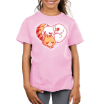 Cuddling Kitties Kid's t-shirt model TeeTurtle pink t-shirt featuring two cuddled up kitties in the shape of a heart