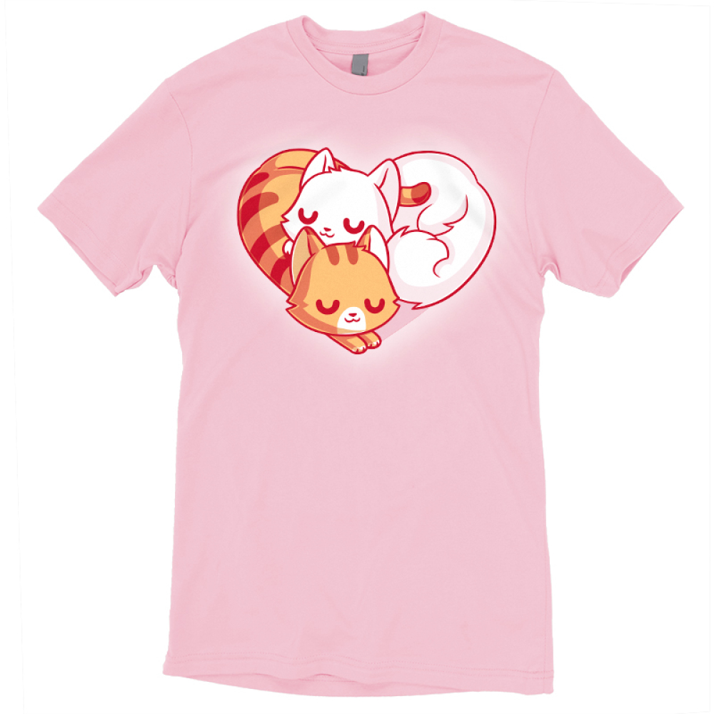 Cuddling Kitties t-shirt TeeTurtle pink t-shirt featuring two cuddled up kitties in the shape of a heart
