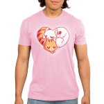 Cuddling Kitties Men's t-shirt model TeeTurtle pink t-shirt featuring two cuddled up kitties in the shape of a heart