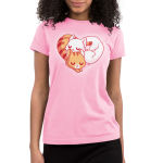 Cuddling Kitties Junior's t-shirt model TeeTurtle pink t-shirt featuring two cuddled up kitties in the shape of a heart