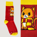 Brave Kitty Socks TeeTurtle red socks featuring an orange cat in a red and yellow scarf