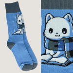 Smart Kitty Socks TeeTurtle blue socks featuring a white cat with a blue and dark gray scarf on reading a book