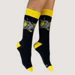 Friendly Kitty Socks TeeTurtle black socks featuring a light gray cat smiling with a yellow and gray scarf on