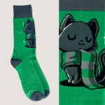 Sneaky Kitty Socks TeeTurtle dark green socks featuring a dark gray cat in a green and light gray scarf
