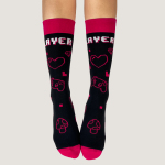 Player 1 Socks TeeTurtle black socks featuring gaming controls, hearts, diamonds, mushrooms. and swords in digital design