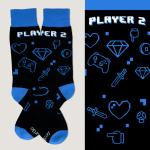 Player 2 Socks TeeTurtle black socks featuring gaming controls, hearts, diamonds, mushrooms. and swords in digital design