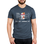 This Isn't Working Out Men's t-shirt model TeeTurtle indigo t-shirt featuring a cat in a red sweat band sitting on the floor of a gym eating a slice of pizza