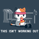 This Isn't Working Out t-shirt TeeTurtle indigo t-shirt featuring a cat in a red sweat band sitting on the floor of a gym eating a slice of pizza