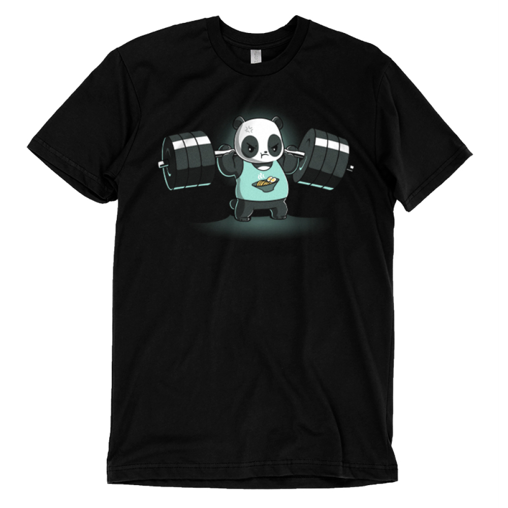 Pumped Panda t-shirt TeeTurtle black t-shirt featuring a panda wearing a blue tank top with ramen on it lifting heavy weights on his shoulders