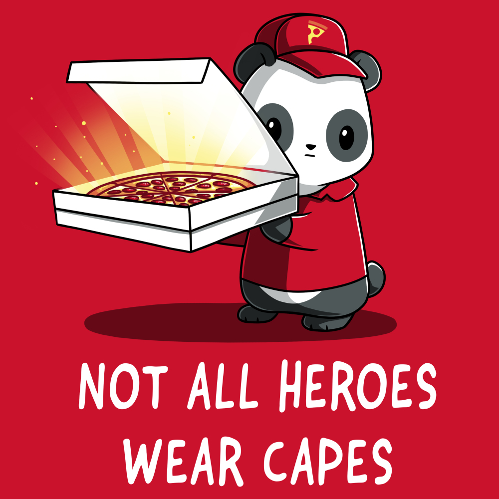 Not All Superheroes Wear Capes t-shirt TeeTurtle red t-shirt featuring a panda in a pizza delivery outfit with an open pizza box in his hand with a glowing pepperoni pizza
