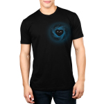 My Heart is a Black Hole Men's t-shirt model TeeTurtle black t-shirt featuring a smiling black hole in the shape of a heart in space