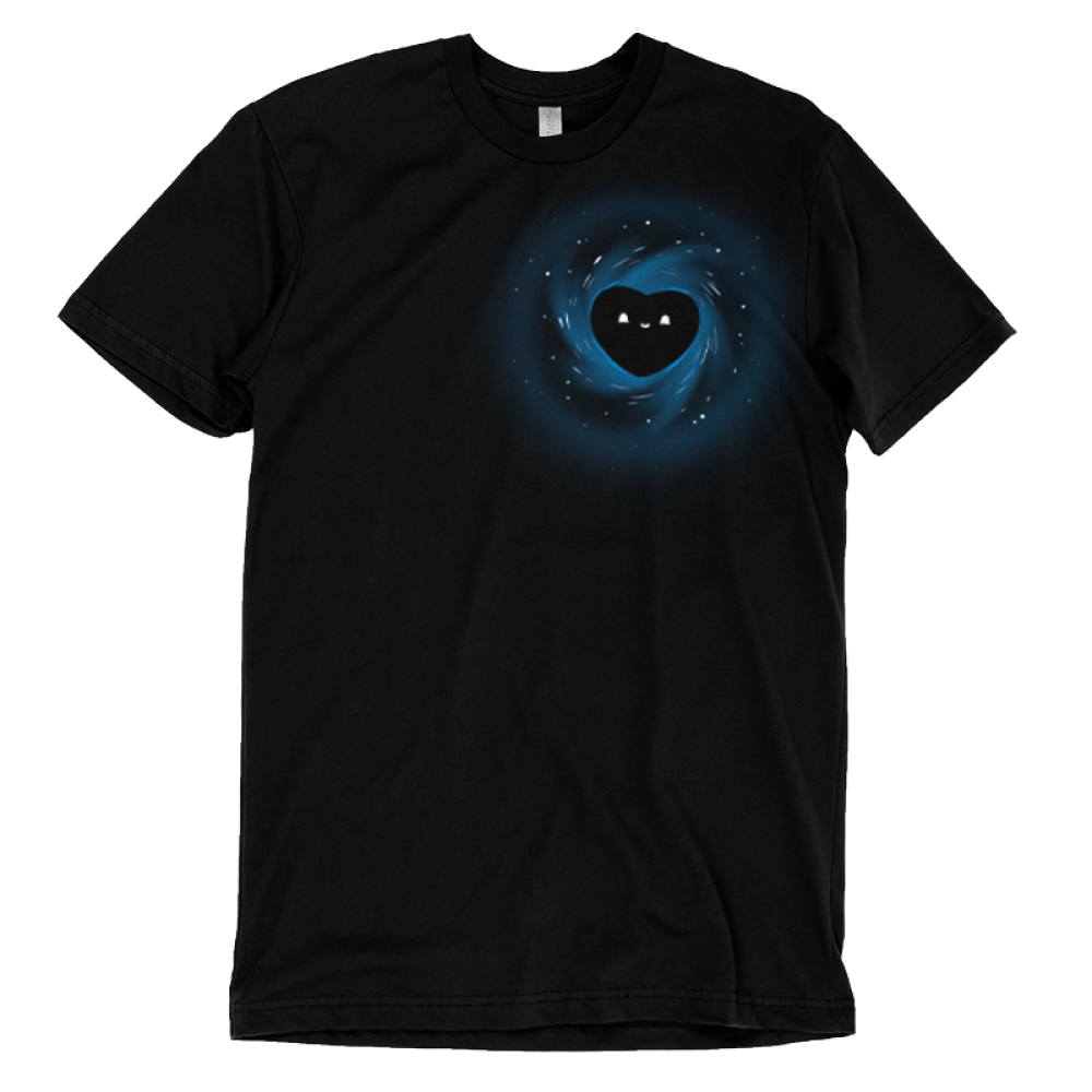 My Heart is a Black Hole t-shirt TeeTurtle black t-shirt featuring a smiling black hole in the shape of a heart in space