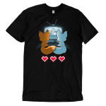 Fur the Love of Gaming t-shirt TeeTurtle black t-shirt featuring an orange and a blue fox sitting in front of a TV gaming together while holding their tails together with three video game hearts on the floor behind them
