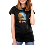 Fur the Love of Gaming Women's t-shirt model TeeTurtle black t-shirt featuring an orange and a blue fox sitting in front of a TV gaming together while holding their tails together with three video game hearts on the floor behind them