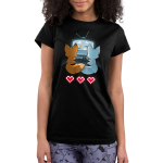 Fur the Love of Gaming Junior's t-shirt model TeeTurtle black t-shirt featuring an orange and a blue fox sitting in front of a TV gaming together while holding their tails together with three video game hearts on the floor behind them
