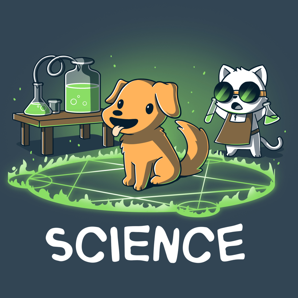 Alchemy = Science t-shirt TeeTurtle indigo t-shirt featuring a smiling dog in the middle of a green flaming hexagram with a cat wearing goggles standing behind him with two test tubes in his hand
