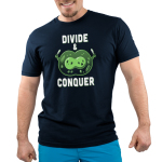 Divide & Conquer Men's t-shirt model TeeTurtle navy t-shirt featuring two linked green cells getting ready to break from each other with knives in each hand