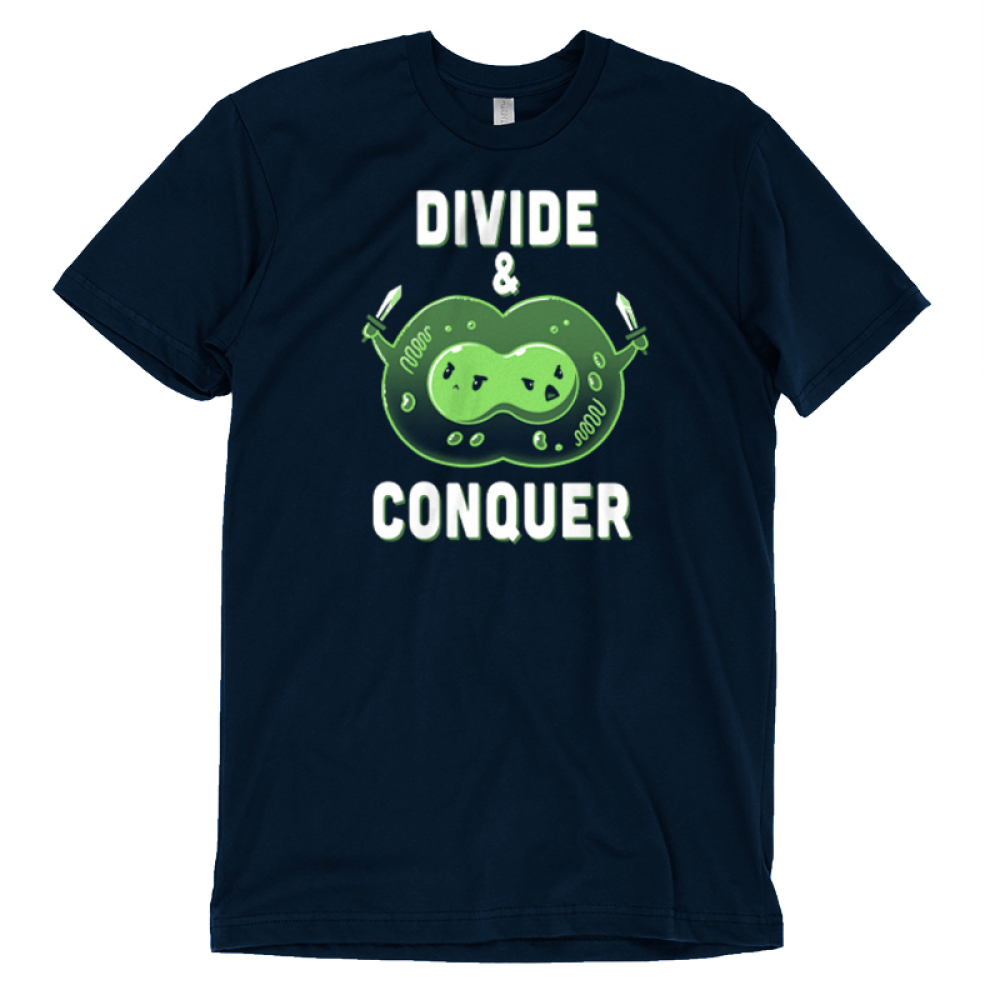 Divide & Conquer t-shirt TeeTurtle navy t-shirt featuring two linked green cells getting ready to break from each other with knives in each hand