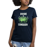 Divide & Conquer Women's t-shirt model TeeTurtle navy t-shirt featuring two linked green cells getting ready to break from each other with knives in each hand