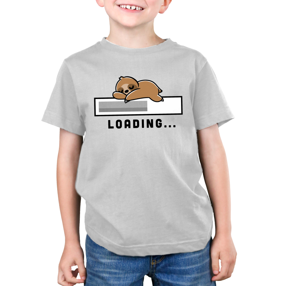 Loading Kid's t-shirt model TeeTurtle silver t-shirt featuring a loading bar with a sloth sleeping on top of it