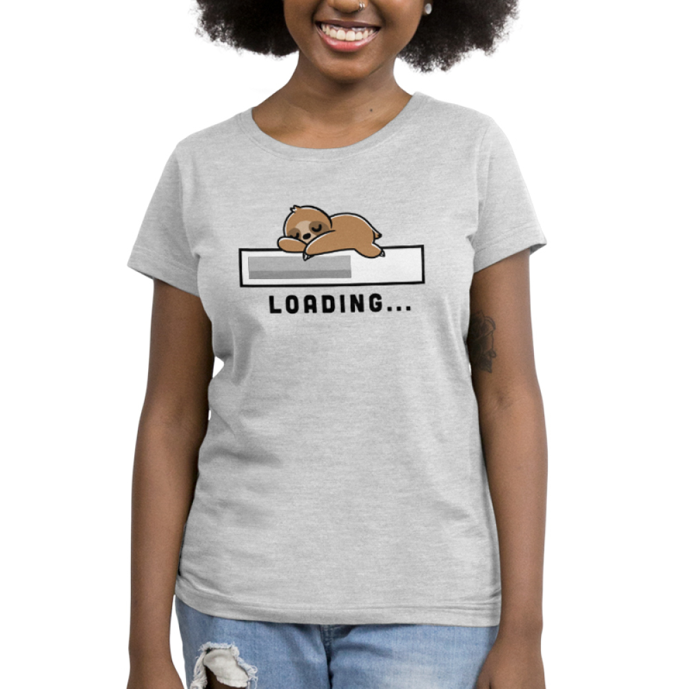 Loading Women's t-shirt model TeeTurtle silver t-shirt featuring a loading bar with a sloth sleeping on top of it