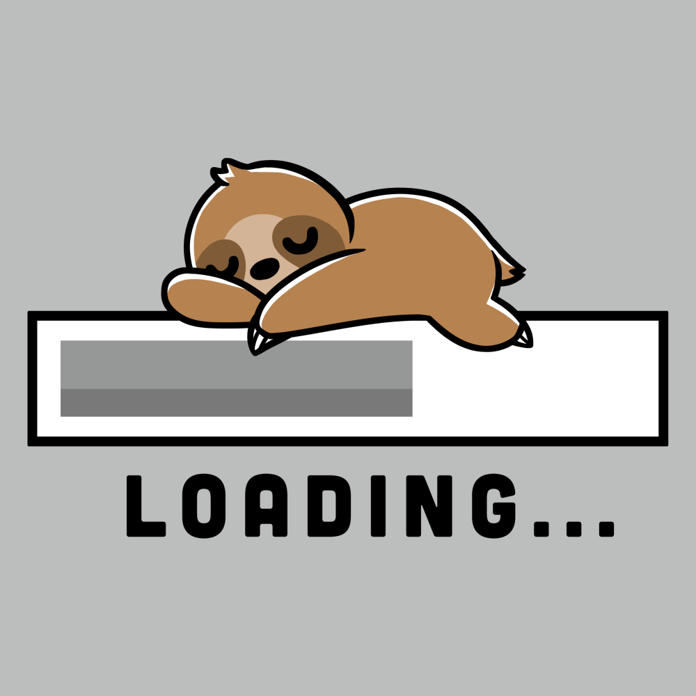 Loading t-shirt TeeTurtle silver t-shirt featuring a loading bar with a sloth sleeping on top of it