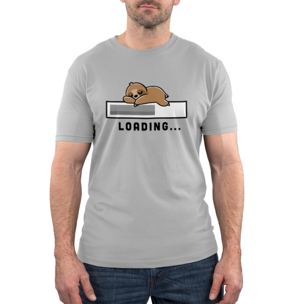 Loading Men's t-shirt model TeeTurtle silver t-shirt featuring a loading bar with a sloth sleeping on top of it