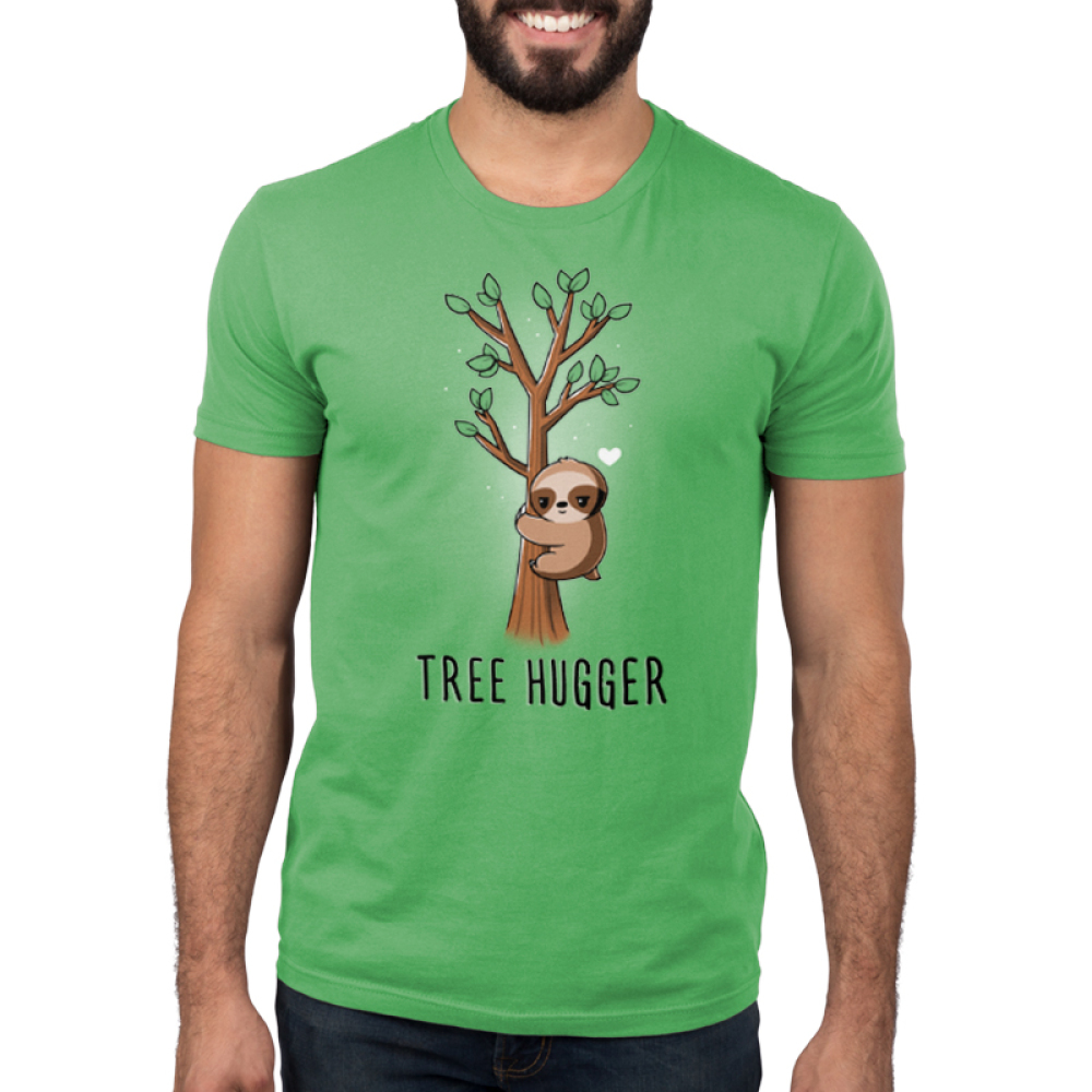 Tree Hugger Men's t-shirt model TeeTurtle apple green t-shirt featuring a sloth hugging a little tree with green leaves