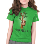 Tree Hugger Kid's t-shirt model TeeTurtle apple green t-shirt featuring a sloth hugging a little tree with green leaves