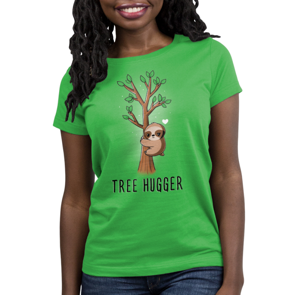 Tree Hugger Women's t-shirt model TeeTurtle apple green t-shirt featuring a sloth hugging a little tree with green leaves