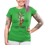 Tree Hugger Junior's t-shirt model TeeTurtle apple green t-shirt featuring a sloth hugging a little tree with green leaves