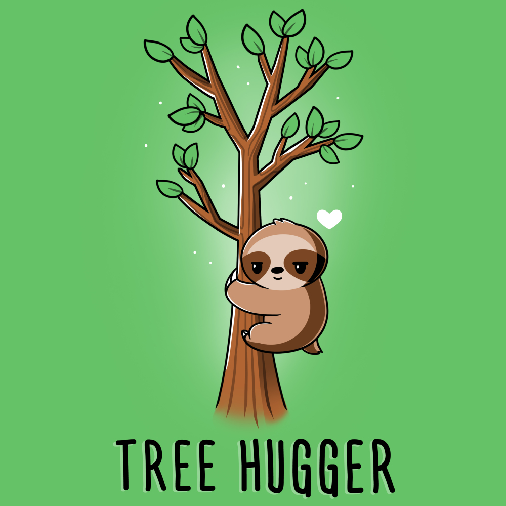 Tree Hugger t-shirt TeeTurtle apple green t-shirt featuring a sloth hugging a little tree with green leaves