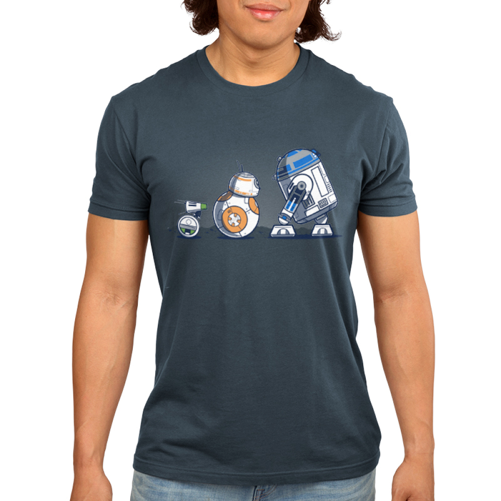 Droid Pals Men's t-shirt model Star Wars officially licensed indigo t-shirt featuring R2 D2, BB8, and Y-O
