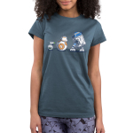 Droid Pals Junior's t-shirt model Star Wars officially licensed indigo t-shirt featuring R2 D2, BB8, and Y-O