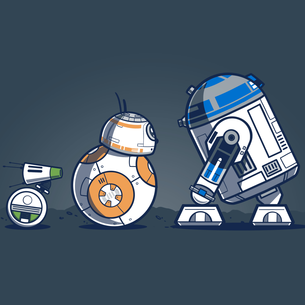 Droid Pals t-shirt Star Wars officially licensed indigo t-shirt featuring R2 D2, BB8, and Y-O