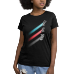 Racing Stripes Women's t-shirt model Star Wars officially licensed black t-shirt featuring the x-wing with a blue stripe behind it, the tie fighter with a red stripe behind it, and the millennium falcon with a gray stripe behind it