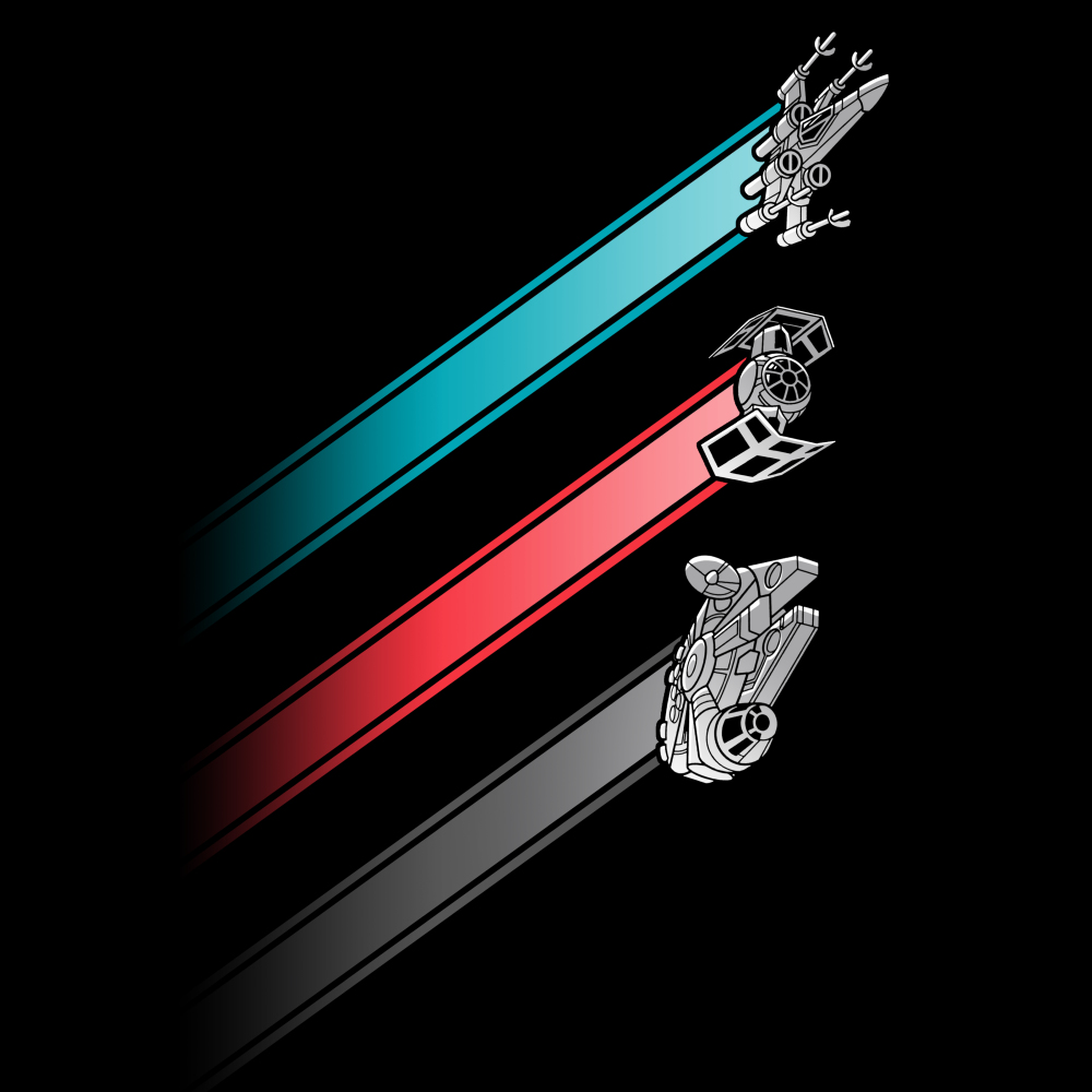 Racing Stripes t-shirt Star Wars officially licensed black t-shirt featuring the x-wing with a blue stripe behind it, the tie fighter with a red stripe behind it, and the millennium falcon with a gray stripe behind it