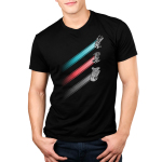 Racing Stripes Men's t-shirt model Star Wars officially licensed black t-shirt featuring the x-wing with a blue stripe behind it, the tie fighter with a red stripe behind it, and the millennium falcon with a gray stripe behind it