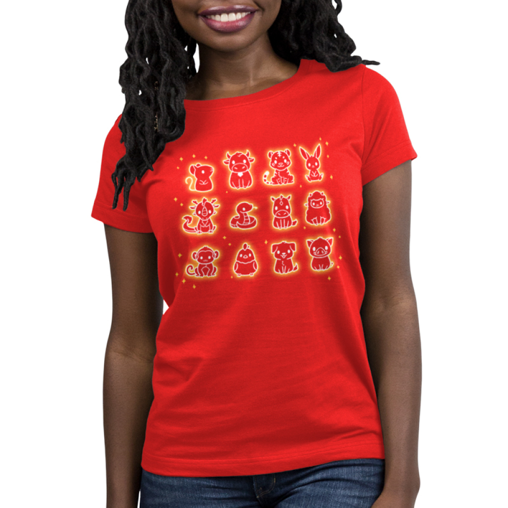 Zodiac Family Women's t-shirt model TeeTurtle red t-shirt featuring all the zodiac animals