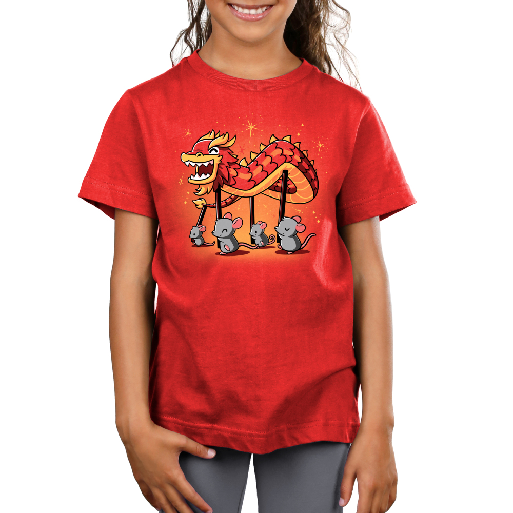 Year of the Rat Kid's t-shirt model TeeTurtle red t-shirt featuring four gray rats holding up poles with a paper dragon