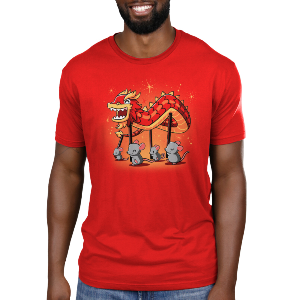 Year of the Rat Men's t-shirt model TeeTurtle red t-shirt featuring four gray rats holding up poles with a paper dragon